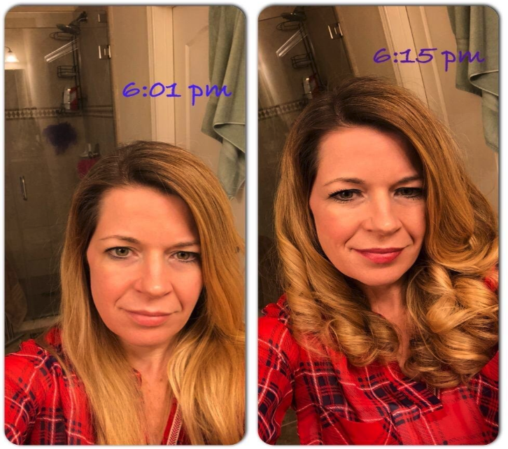 A reviewer with straight hair at 6:01pm and curled hair at 6:15pm
