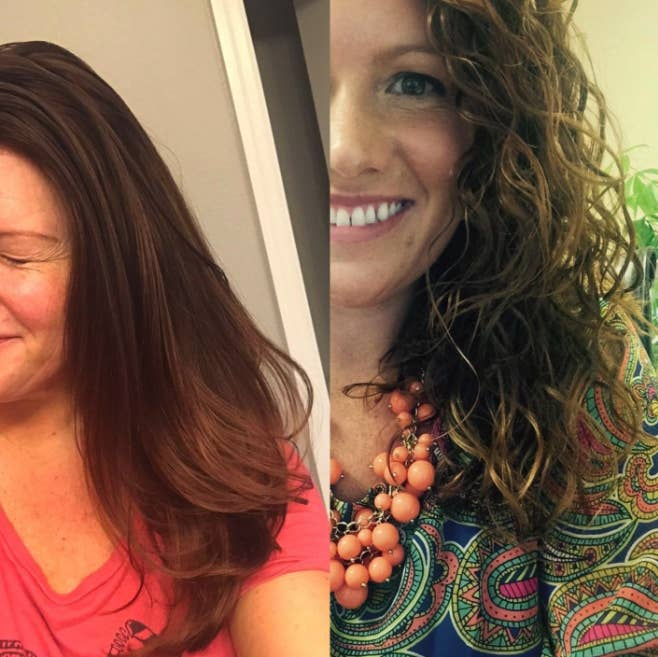 A reviewer with wavy-curly hair before using, and blown out hair after using