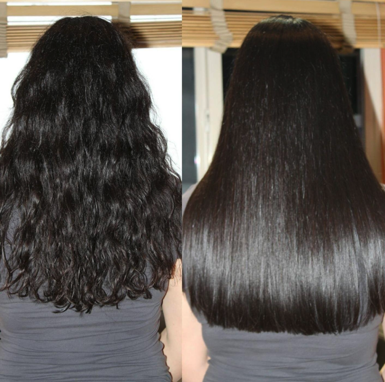Reviewer with wavy hair on the left and straight, shiny hair on the right