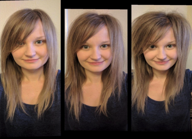 A reviewer with straight hair on the left, more voluminous hair in the middle, and very voluminous hair on the right