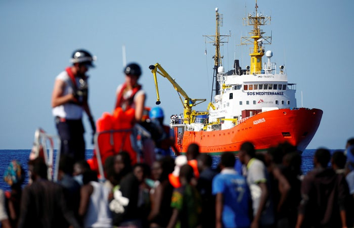 The MV Aquarius rescue ship is seen as migrants are rescued by the SOS Mediterranée organization during a search and rescue operation last year.