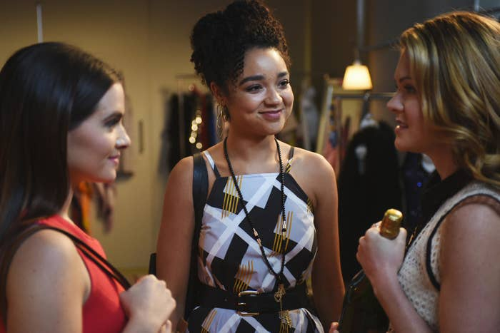 Katie Stevens as Jane, Aisha Dee as Kat, and Meghann Fahy as Sutton on The Bold Type.