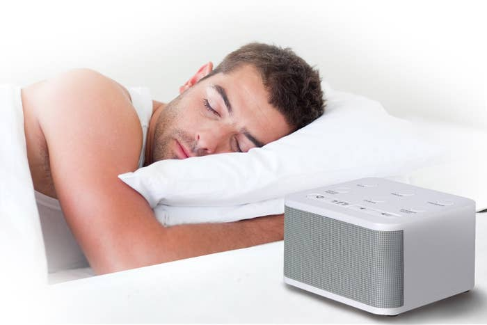 """This has six natural sounds: rain, brook, ocean, thunder, white noise, summer night. You can leave it on all night or use the 15, 30, or 60 minute timer option. it can be powered by an AC adaptor (which is included) or three AA batteries.Promising review: """"This is the BEST SOUND MACHINE EVER! I've purchased numerous sound machines over the years all claiming to produce natural sounding noise. Liars!! This sound machine is the 'real deal.' The sounds are so lifelike that it's almost spooky. If you close your eyes, you'll swear you were drifting along on the tide at the beach, or relaxing in a hammock during a summer shower. The sounds do a superb job of masking unwanted noise. Here's to a fantastic product."""" —PhilGet it from Amazon for $14.99."""