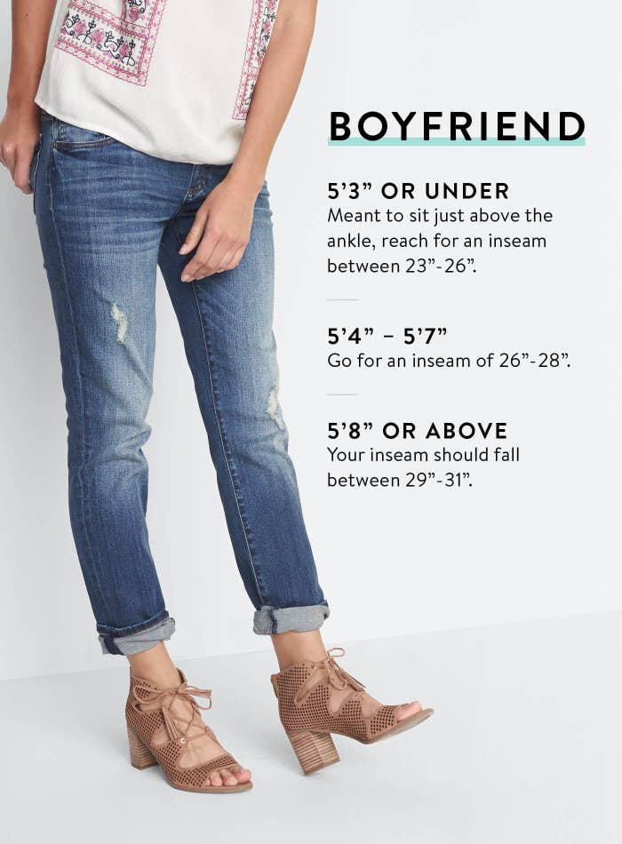 eeabea34e45 Pay attention to inseam details when shopping for boyfriend jeans. Some  stores will even feature different sized models and list their inseams so you  can ...