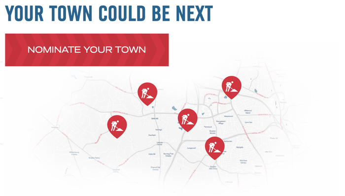 """If your town is selected, Domino's will make sure your town receives funds to """"help repair roads so pizzas make it home safely."""""""