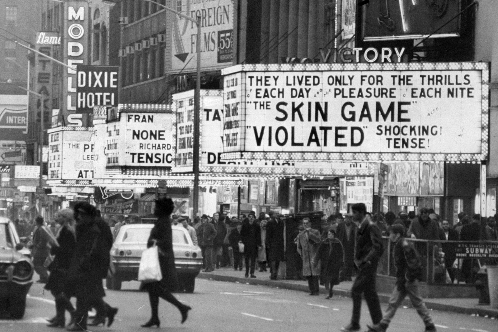 Theater marquees featuring sex shows in Times Square, New York, in 1967.