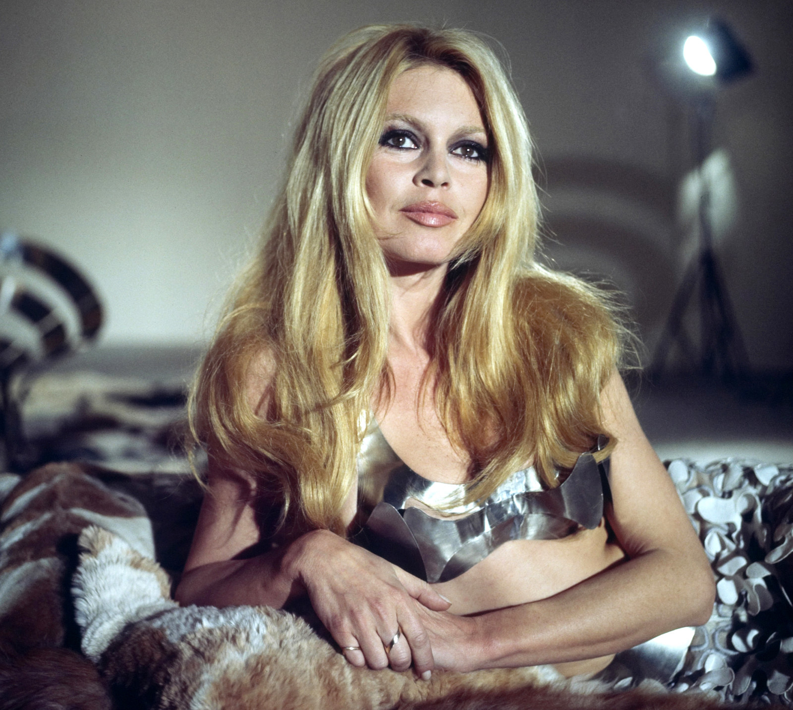 Brigitte Bardot on the set of the French program Sacha Show on March 13, 1969.