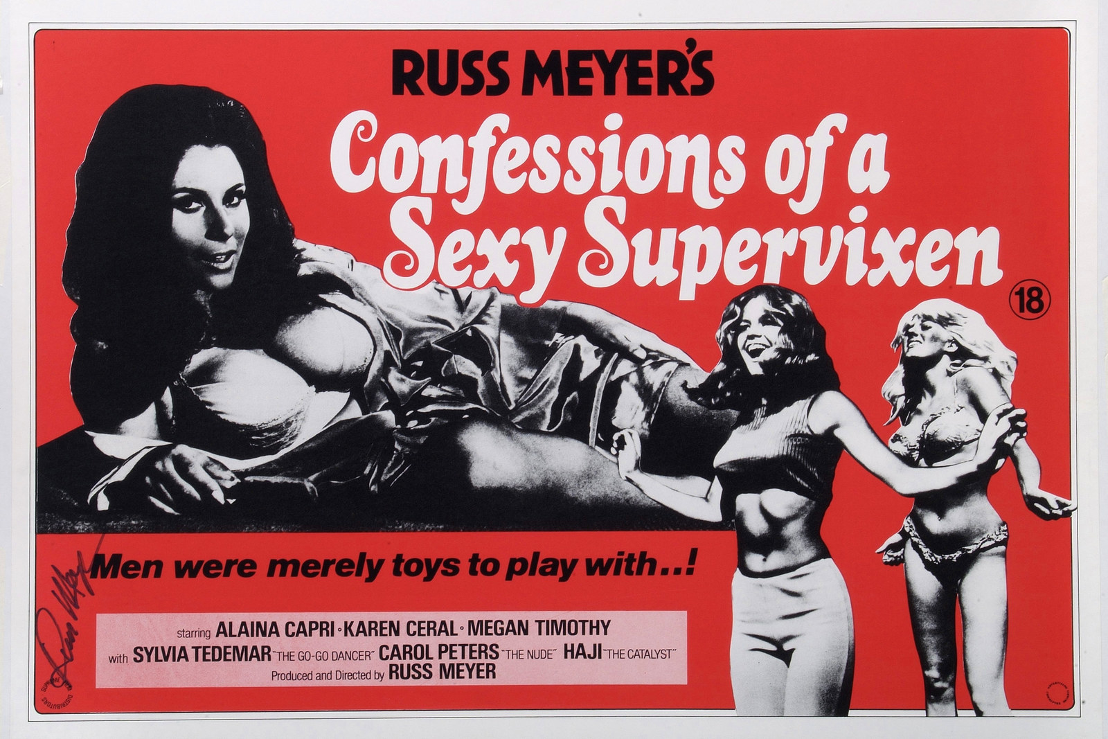 A poster for the pornographic film Confessions of a Sexy Supervixen, directed by Russ Meyer, in 1967.