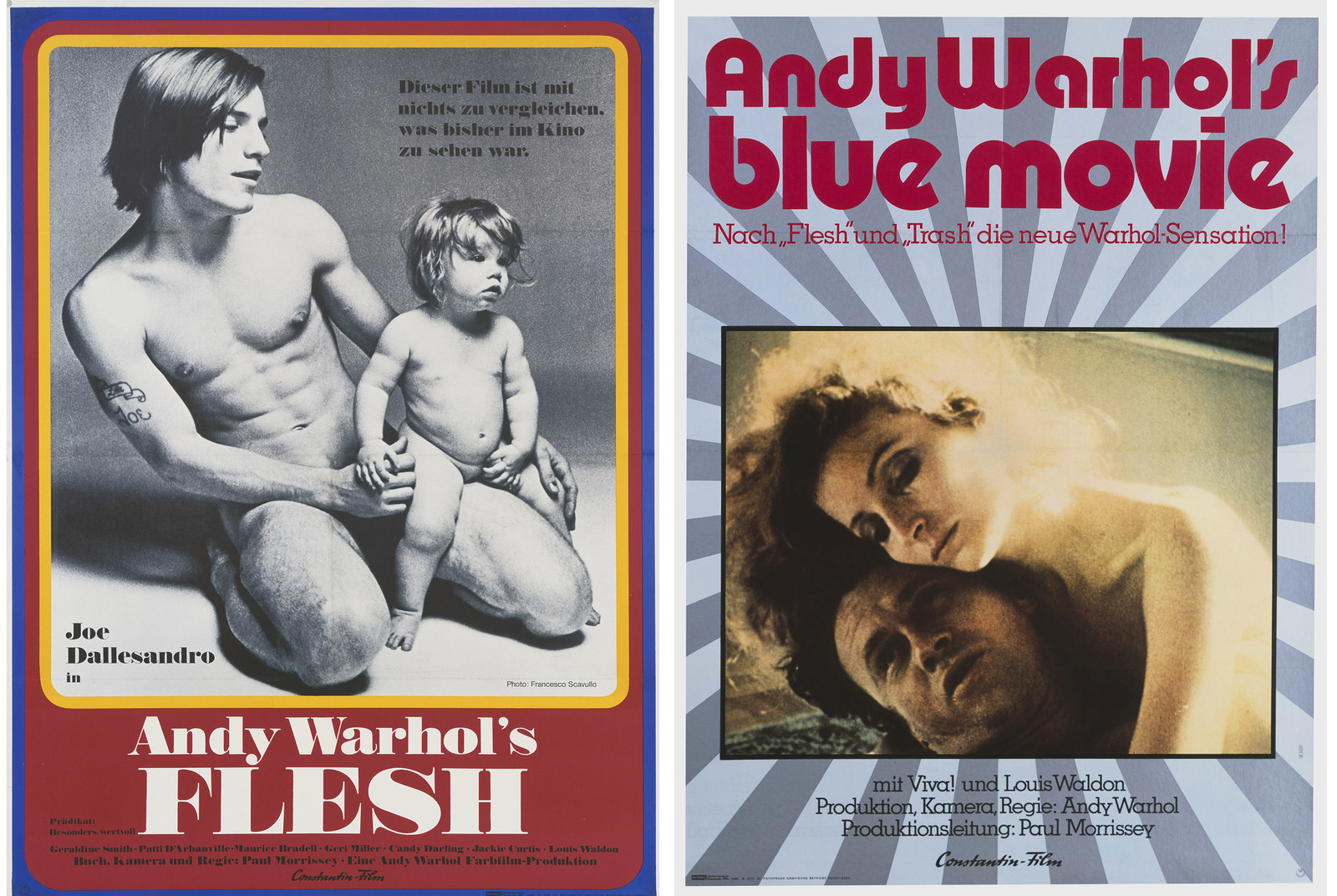 Left: A poster for the German release of Paul Morrissey's 1969 film Andy Warhol's Flesh. Right: A poster for the German release of Andy Warhol's 1969 film Blue Movie.