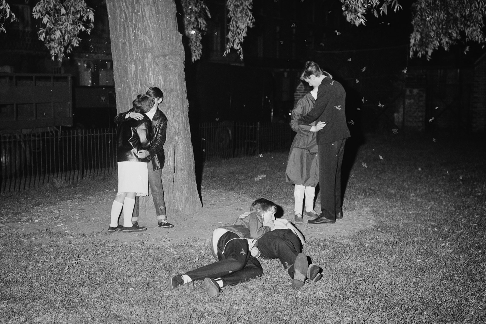 Young Mods make out in a London park in 1964.