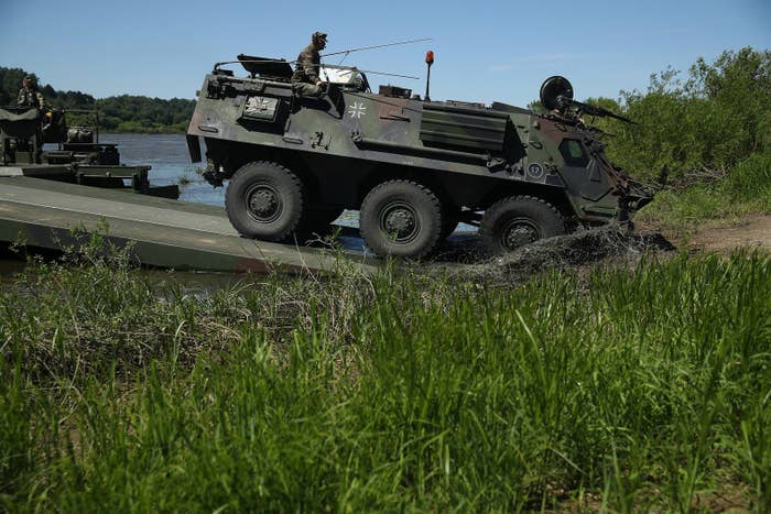 A German armored personnel carrier during NATO military exercises in Lithuania June 8.