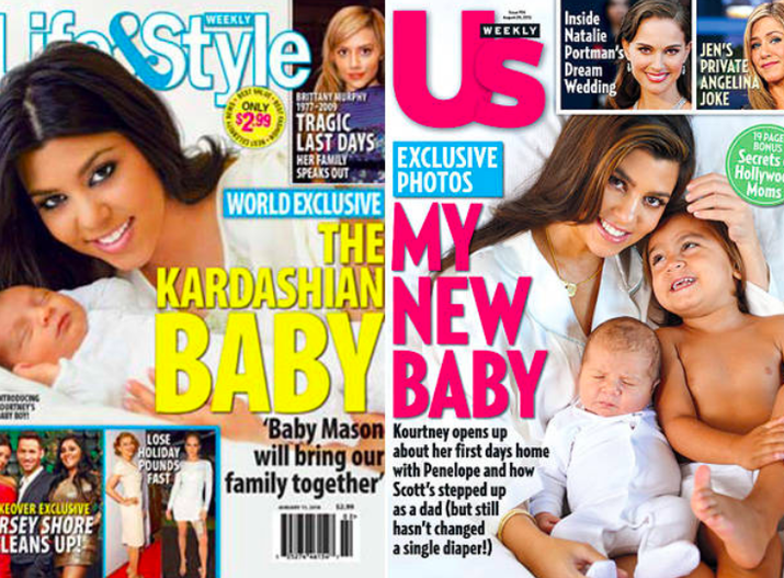 She discovered she was pregnant during an episode of Kourtney and Kim Take Miami, gave birth on Keeping Up With The Kardashians and sold the first photos of baby Mason to Life and Style. She followed a similar pattern with her second pregnancy in 2012, this time announcing the news in Us Weekly, sharing the first photos with the same publication and giving birth on KUWTK.