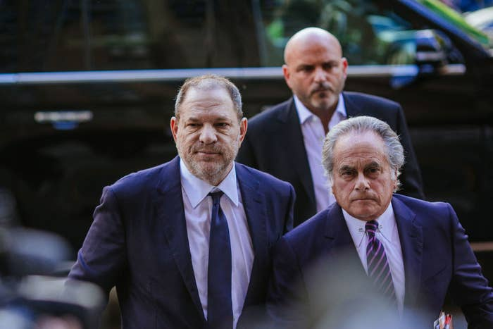 Harvey Weinstein (left) arrives at state Supreme Court with attorney Benjamin Brafman following an arraignment on June 5 in New York City.