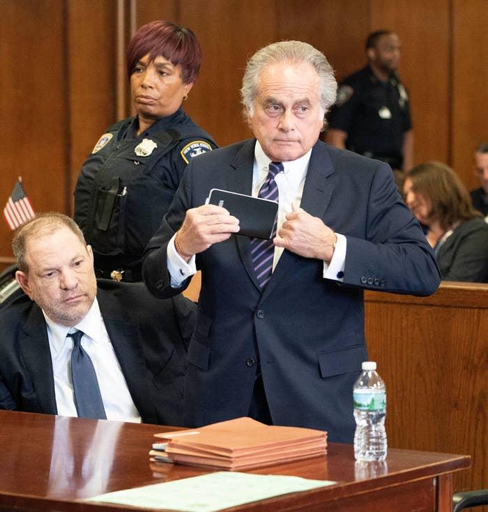 Harvey Weinstein with his lawyer Benjamin Brafman on June 5.