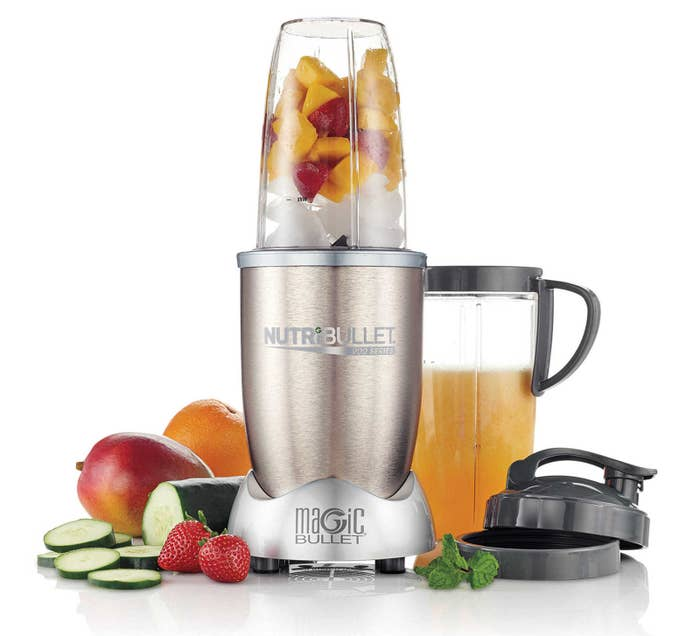 """Features: stainless-steel extractor blade, colossal cup with to-go lid, busts open seeds, cracks through stems, shreds tough skin of fruits and veggiesPromising review: """"I couldn't be happier. I've made yummy shakes/drinks nearly every day for two weeks. I never put the same veggies/fruits in them, and LOVE that I can throw in stems, seeds, peels, etc. I would definitely recommend this to everyone. I love that you don't have to HOLD it down like the less expensive Ninja version."""" —70mmPrice: $79"""