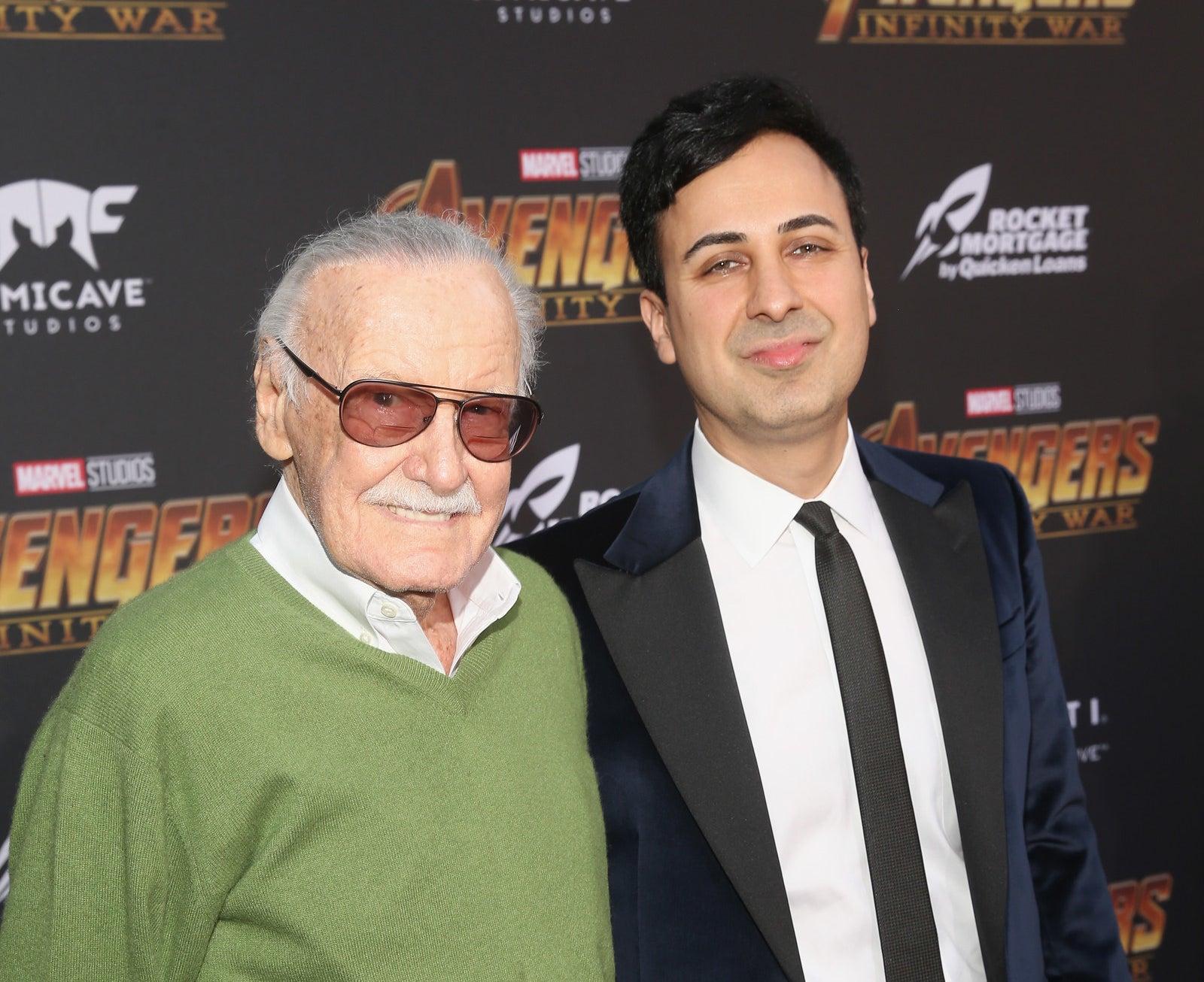 Stan Lee and Keya Morgan at the Infinity War premiere in April.