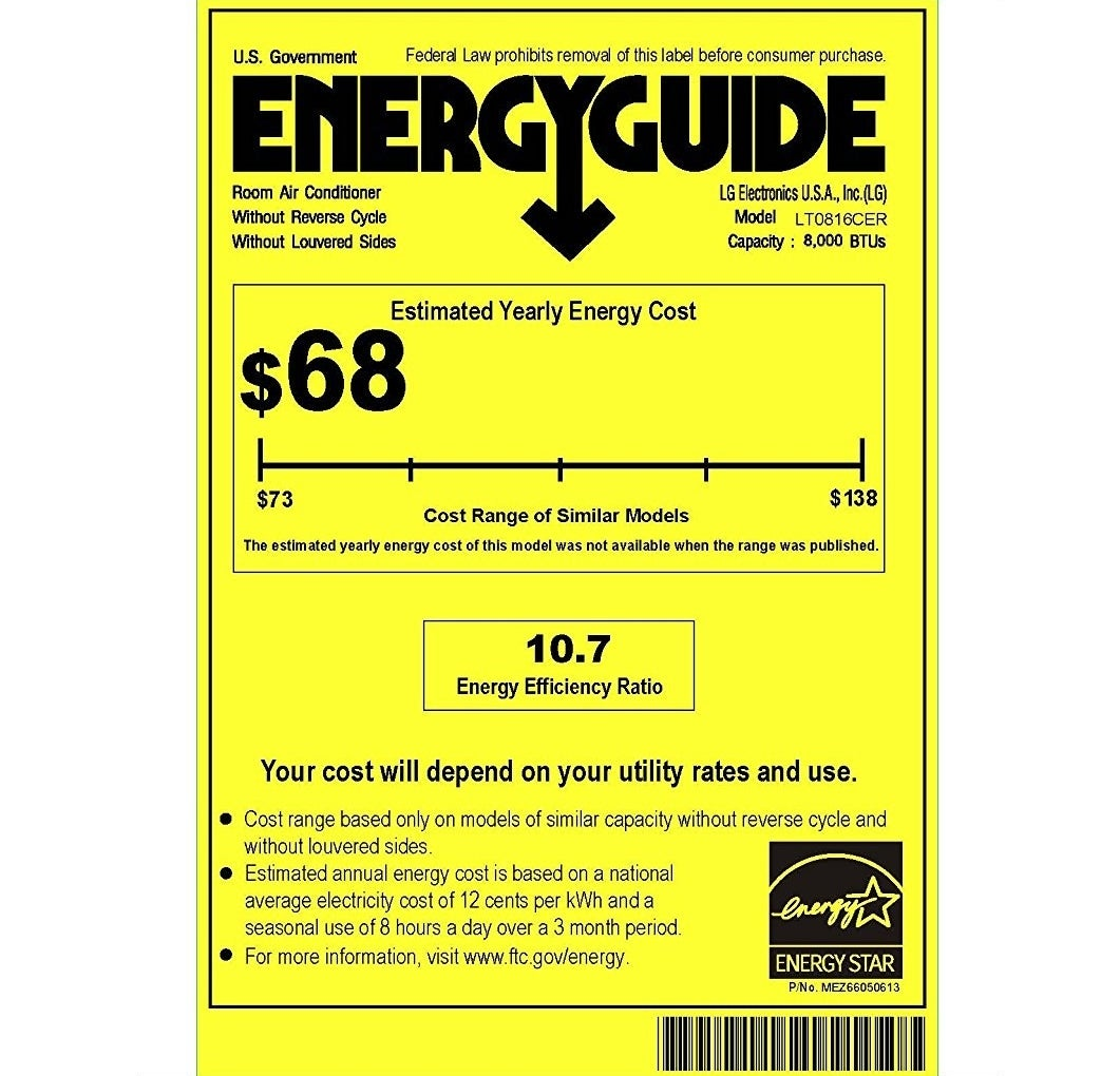 Example of an EER label on an AC unit