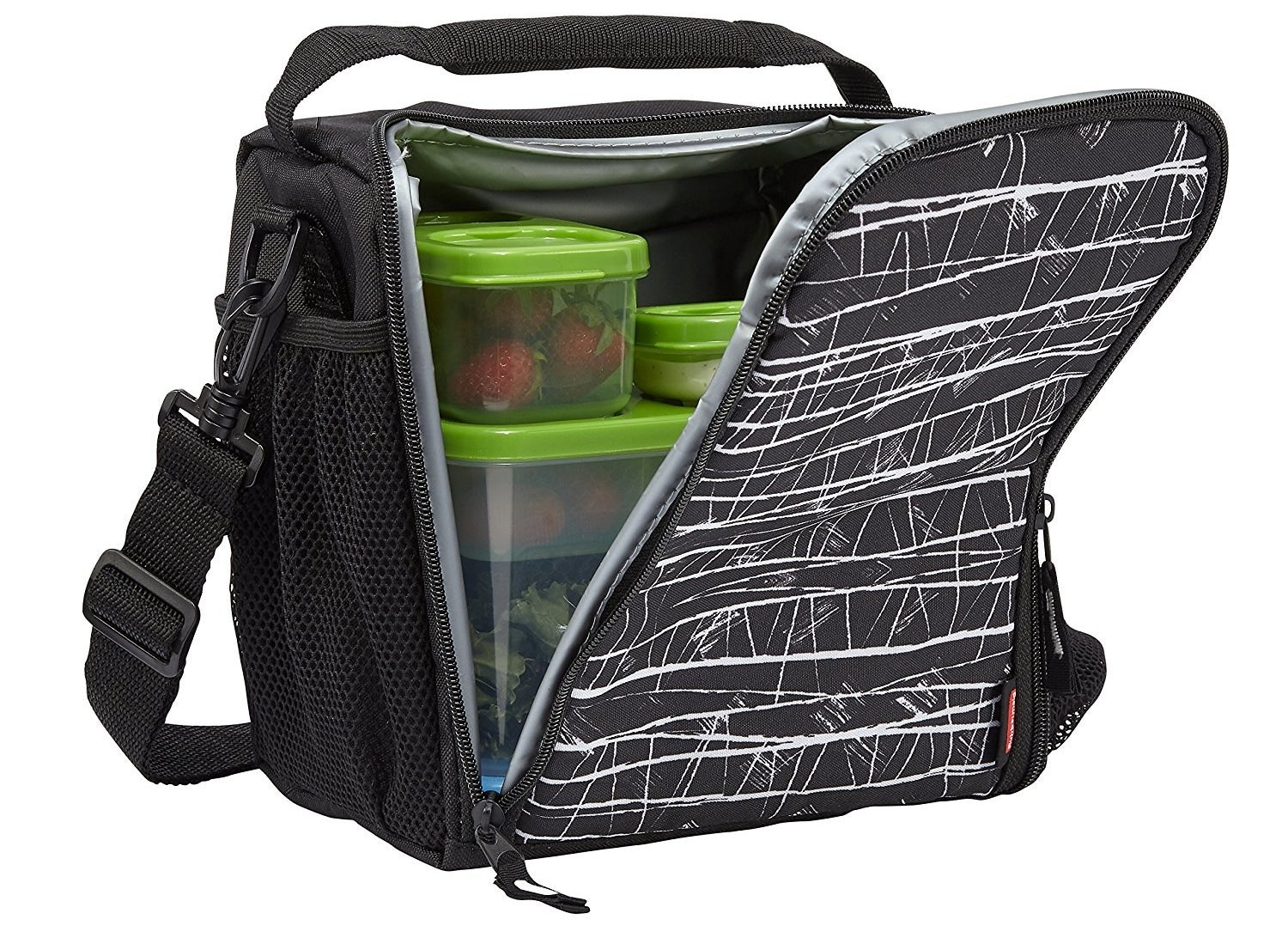 """Promising review: """"Great bag! It's small, but it holds a LOT! Its compact size is great because I want to pack a lunch without lugging around a massive bag. I commute to college and am there from 7 a.m.–2 p.m. and this is perfect to store my lunch. I purchased the salad kit and the sandwich kit and those are amazing! I highly recommend everything about this product. My friends purchased one after falling in love with mine. I wish it came in more colors though! At least this dotted pattern is adult enough for me to not look ridiculous in college"""" —TugarPrice: $10.42 (available in two sizes and three colors)"""
