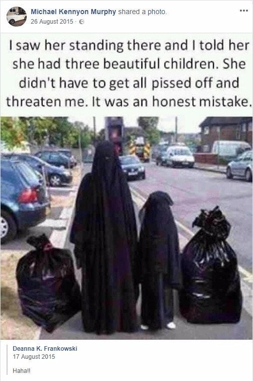 One of the allegedly anti-Muslim Facebook posts shared by Mick Murphy, a Conservative councillor in Nottinghamshire, which was brought to the attention of Ben Bradley in 2016.