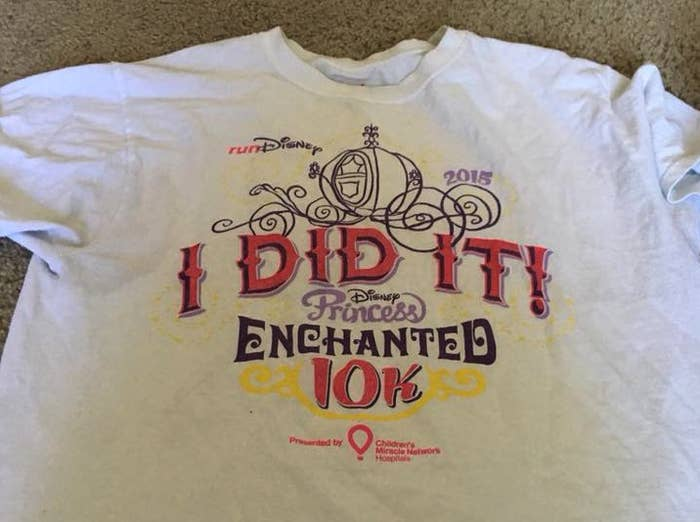 """""""In 2015 I ran a 10k in Disney World. It was, by far, the most incredible feeling in the world. I struggle with anxiety and depression, and at the time of the race, my fiancée had called off our wedding just a few months prior. Every time I wear this shirt, it reminds me that I can do hard things."""" —Becca LeBlanc"""