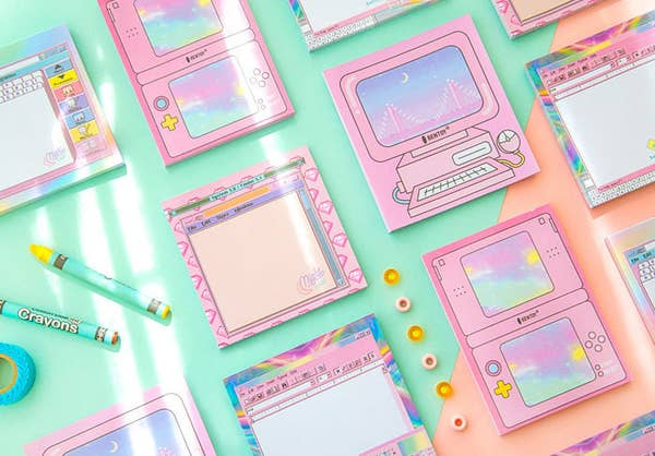 notepads that look like pastel computer and nintendo DS screens