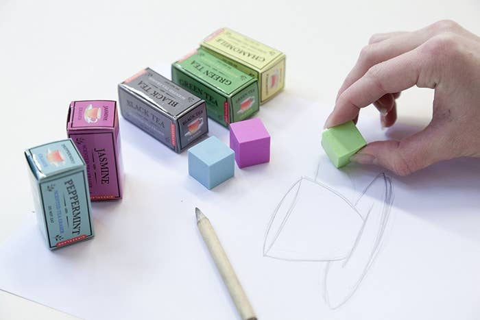 square erasers that come in boxes that look like tea boxes