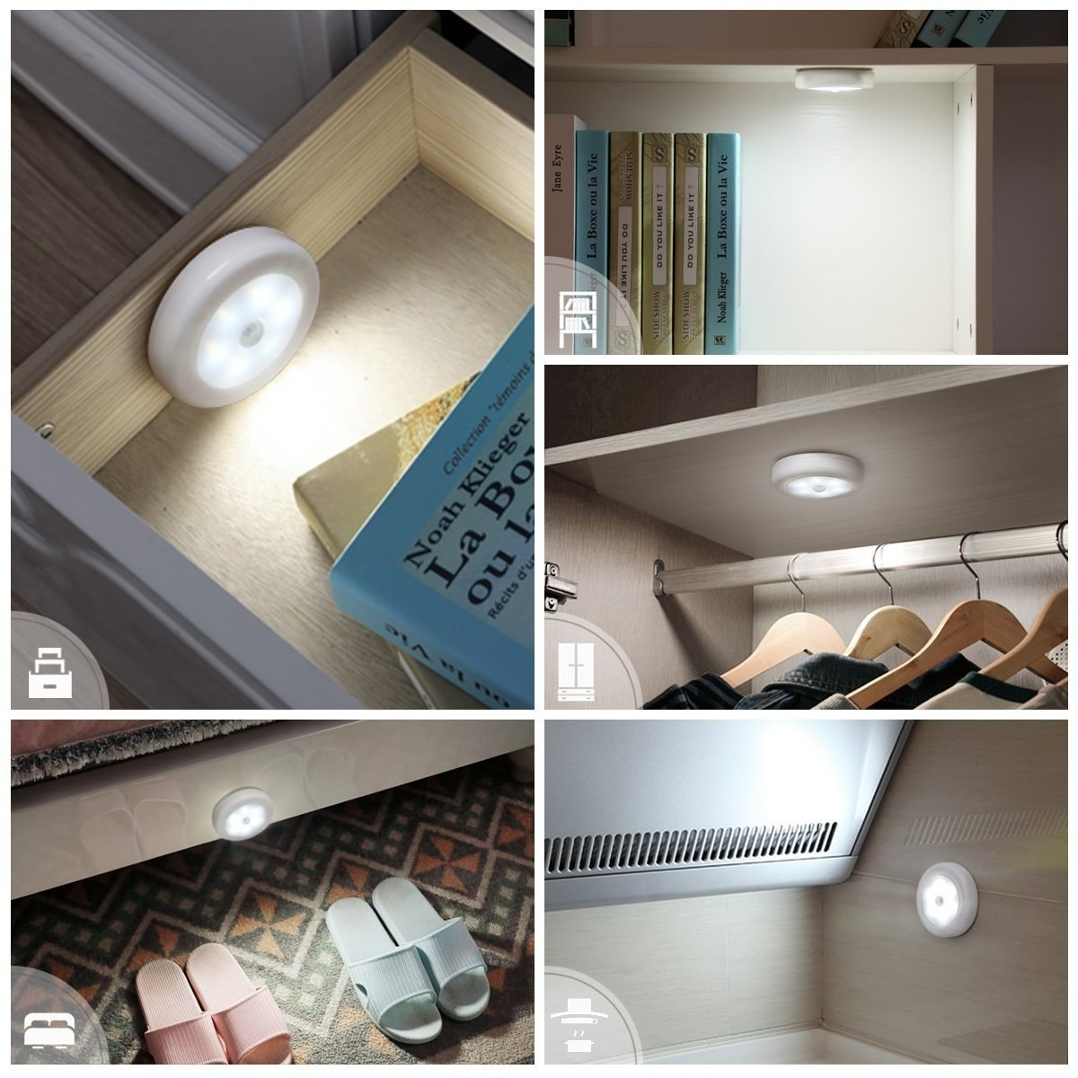 The white stick-on puck light in a drawer, under a bookshelf, under a closet shelf, next to a bed, and on a kitchen wall