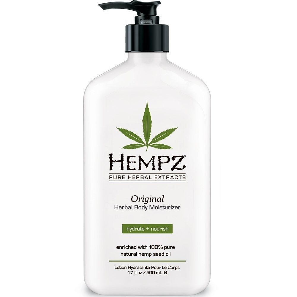 """Promising review: """"I just love this lotion and the original scent is not intrusive, overwhelming, or unnatural in any way. My husband always loves it when I am wearing the lotion as he loves the light, natural scent. This lotion absorbs well into the skin and leaves your derma feeling silky and smooth. No greasy mess and the pump works great, never leaving a blob at the end. Perfect size for home use and Hempz has the perfect travel size lotion as well. The price is very reasonable for the quantity and quality of this product. Thank you Hempz for making a wonderful product!"""" —Roxy Michaelene SchaeferPrice: $12.75 (available in three sizes)"""