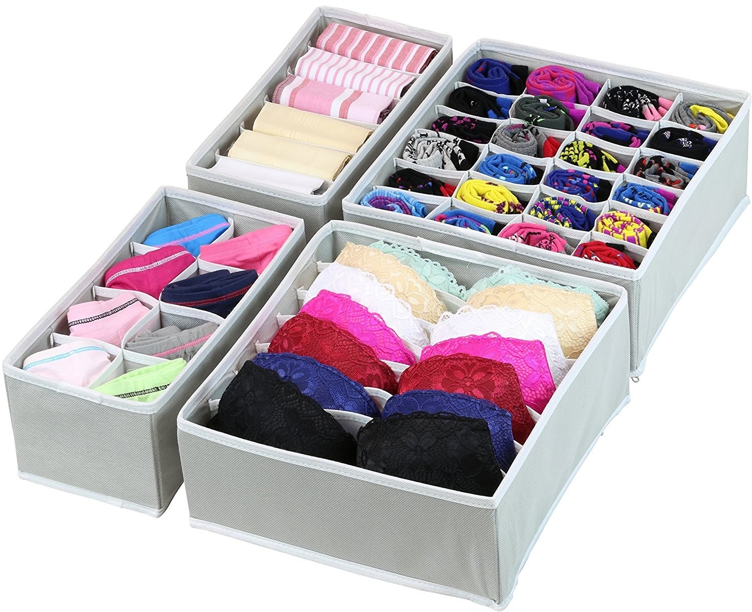 The set of four grey organizers with colorful garments in each