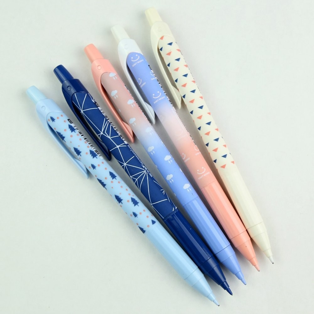 pens with pastel patterns like clouds and trees