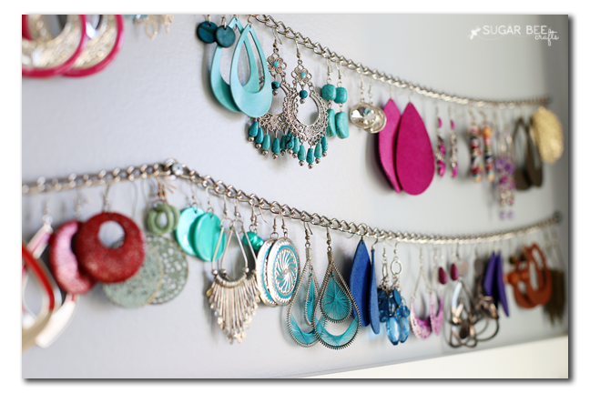 Blogger's medium jewelry chain hung with earrings
