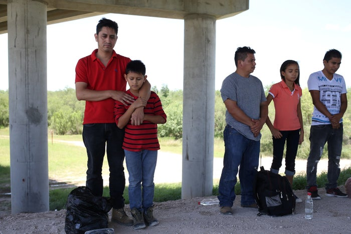 Guatemalan immigrant families turn themselves in to US Border Patrol after illegally crossing the Mexico–US border.