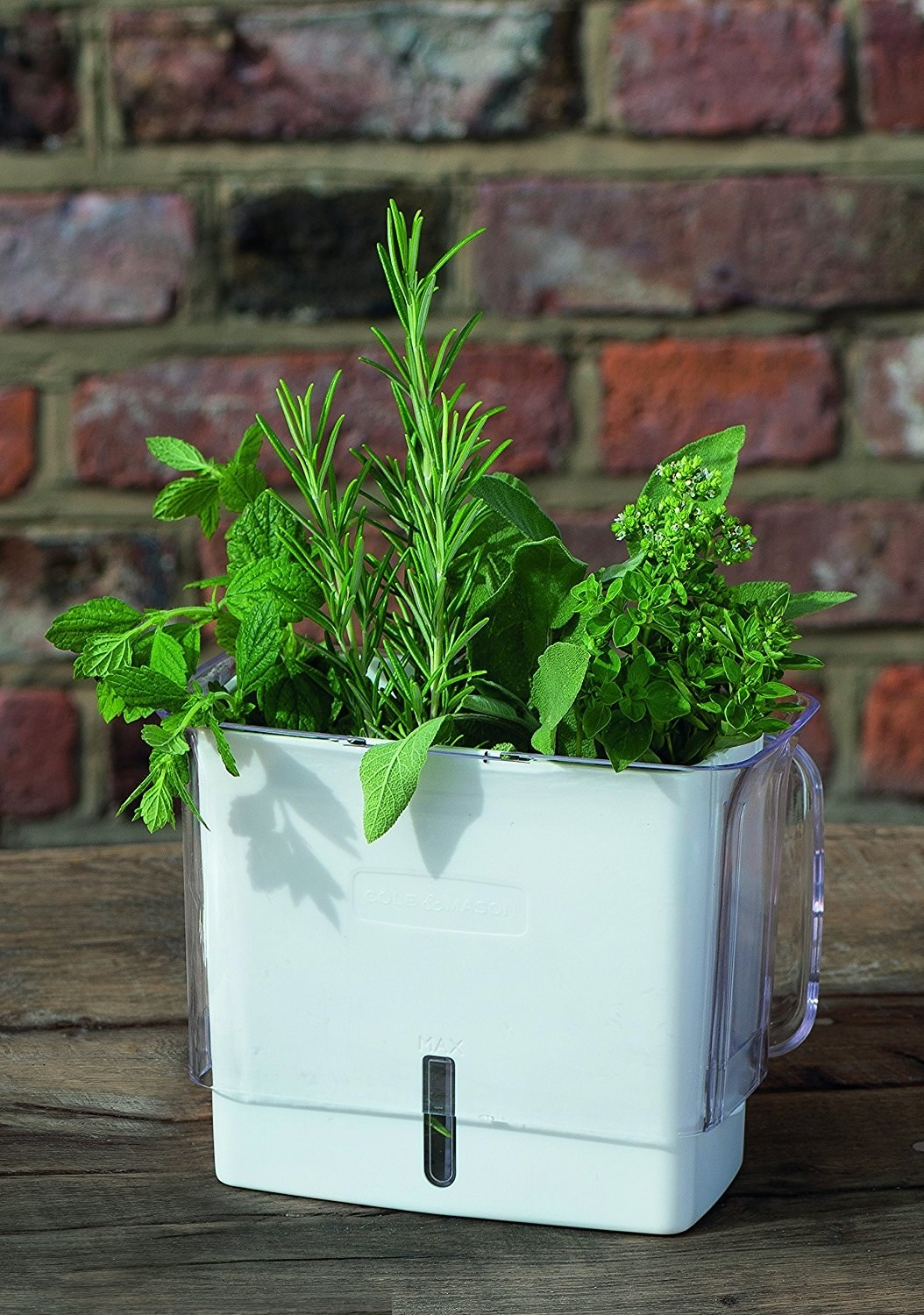 The rectangular product, with a white square base, a window for monitoring water levels, and a clear plastic part that slides up to help protect the herbs