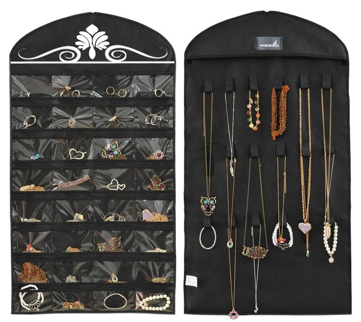 """Promising review: """"This jewelry organizer is very versatile with the pockets AND the loops for hanging larger and longer necklaces so that they do not have to be scrunched up into one of the pockets. It has helped me to gain dressing table space that was previously cluttered with necklaces and jewelry boxes. It's much quicker to find the jewelry I want to wear and to not have to untangle bracelets and necklaces. Would recommend to anyone who likes jewelry and needs to organize and save space. Would make a good gift for a girlfriend or teen."""" —JlmPrice: $7.99 (available in two colors)"""