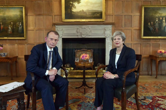 Prime Minister Theresa May being interviewed by host Andrew Marr at Chequers in Buckinghamshire for The Andrew Marr Show.