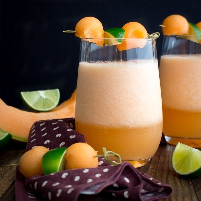 This sweet and tangy bevvie is a lovely blend of cantaloupe, seltzer, and lime juice. Get the recipe here.