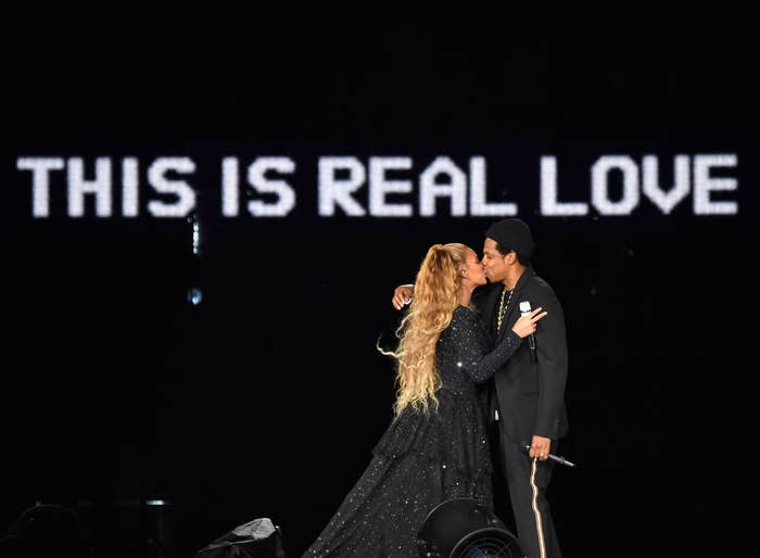 Beyoncé and Jay-Z during the On the Run II Tour on June 9 in Glasgow.
