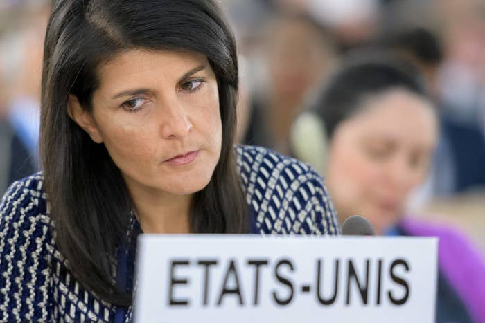 US Ambassador to the United Nations Nikki Haley at the 2017 session of the UN Human Rights Council in Geneva.