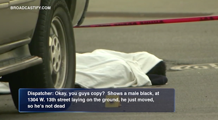 """A deadly shooting erupted in Chicago's Near West Side neighborhood around 4:50 a.m. Monday morning, injuring four victims and ultimately killing two.One of the victims, later identified as Erin Carey, was initially presumed dead as soon as paramedics showed up on the scene and placed a white sheet over him. However, onlookers reportedly begged police to take the sheet off of Carey, as he appeared to still be breathing and twitching. """"He ain't dead,"""" a woman reportedly yelled.Police dispatchers can be heard reacting to live footage of Carey at the scene. """"He is responsive, he just moved on the camera, moved his head from side to side, so he's not dead,"""" an officer said over the radio.Larry Langford, the director of media affairs at the Chicago Fire Department, told BuzzFeed News they are actively investigating the incident to identify the paramedic who first tended to and triaged Carey, and """"why a white sheet was placed over him."""""""