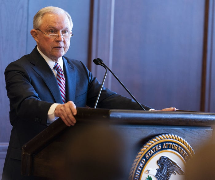 US Attorney General Jeff Sessions delivers remarks on immigration and law enforcement actions in Scranton, Pennsylvania, on June 15.