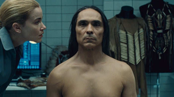Akecheta (Zahn McClarnon) is examined by a theme park technician in Episode 8 of Westworld's second season.
