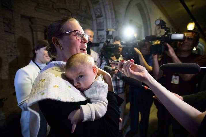 Gould, who serves as the minister of democratic institutions, returned from maternity leave last month with her 3-month-old son Oliver in tow.