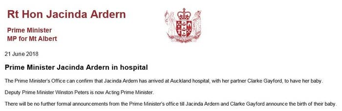 I Am Thrilled To Inform You That Jacinda Ardern Is About To Give Birth