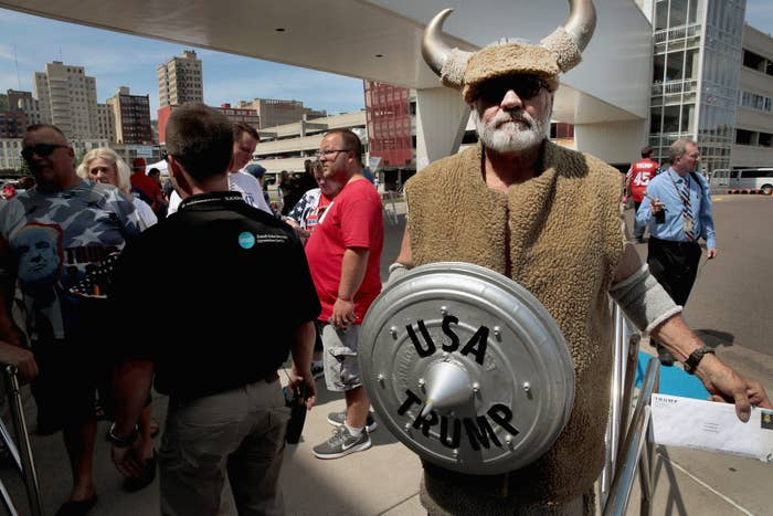 A Trump supporter at the Amsoil Arena on June 20 in Duluth, Minnesota.