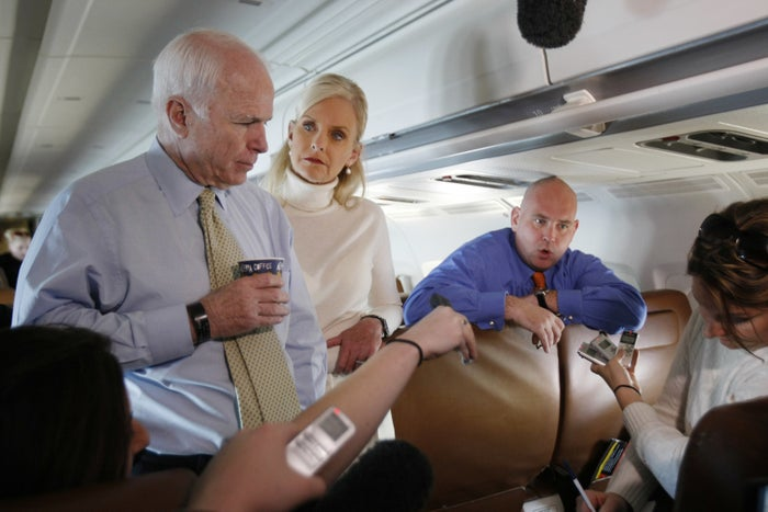 John McCain, his wife, Cindy, and Steve Schmidt in 2008.