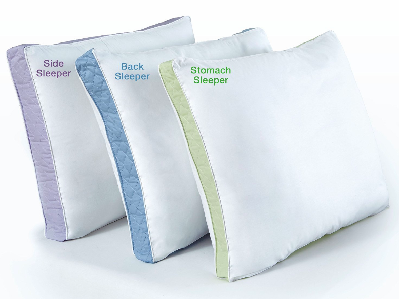 row of pillow versions for side sleeper, back sleeper, stomach sleeper