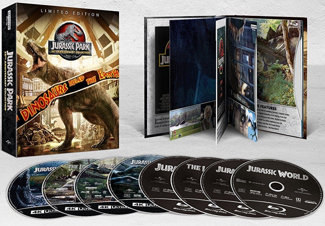 The eight-disc set includes all four of the Jurassic Park films — Jurassic Park, The Lost World: Jurassic Park, Jurassic Park III, and Jurassic World — and tons of special features and behind-the-scenes content. See a promising review here. Price: $16.99+