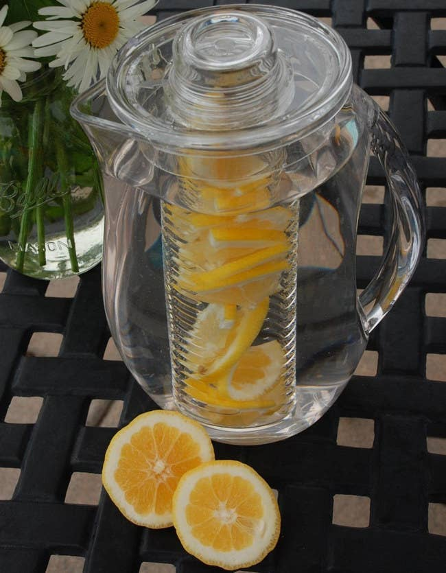 The acrylic pitcher hold up to 93 ounces of liquid and should be hand-washed. See a promising review here. Price: $21.24