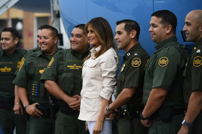 Melania Trump with Border Patrol officers in McAllen, Texas, on Thursday.