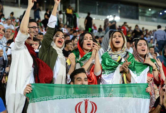 Image result for women watching football match in iran